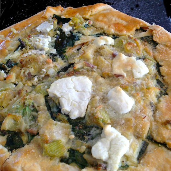 Spring tart with ramps and goat cheese