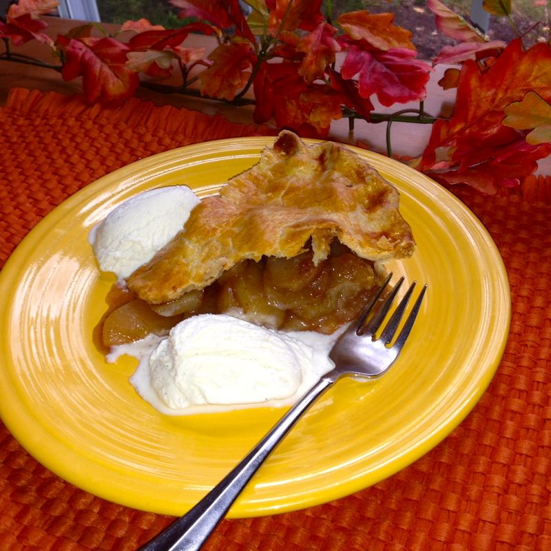 Hot apple pie and vanilla ice cream