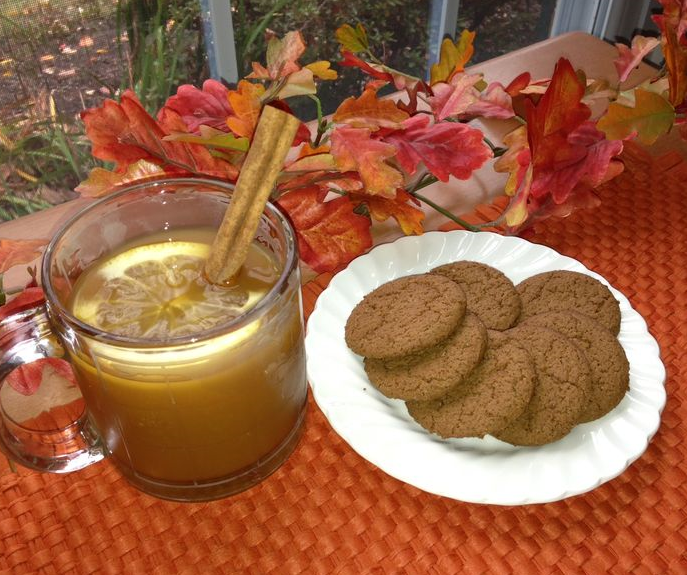 HHot apple toddy with ginger snap cookiesot toddy