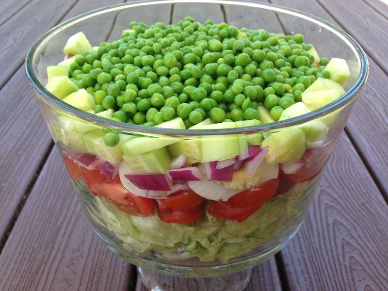 Layered Salad with Green Goddess Dressing