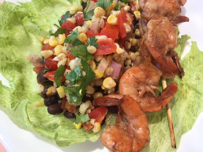 Grilled Shrimp & corn salsa