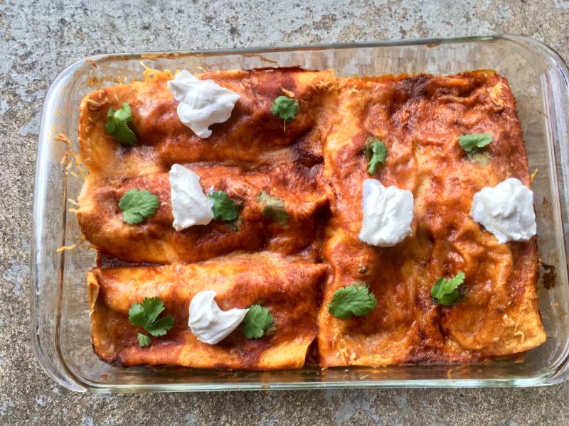 Mexican chicken enchiladas casserole